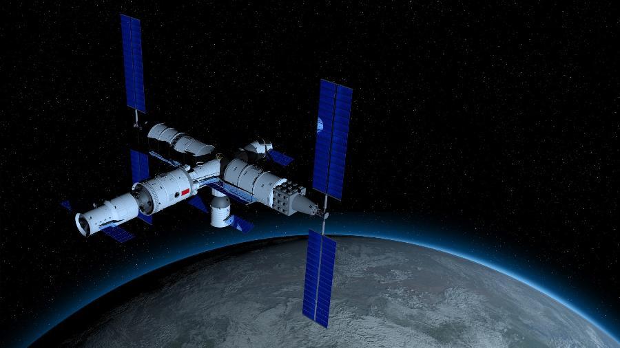Ilustração da Tiangong-3, futura estação espacial chinesa - Getty Images/iStockphoto