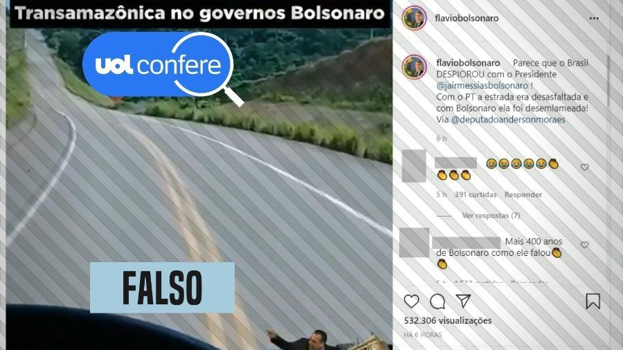 21.jul.2021 - O senador Flávio Bolsonaro (Patriota-RJ) publica vídeo já checado como falso há mais de um ano - Reprodução/Instagram Flávio Bolsonaro