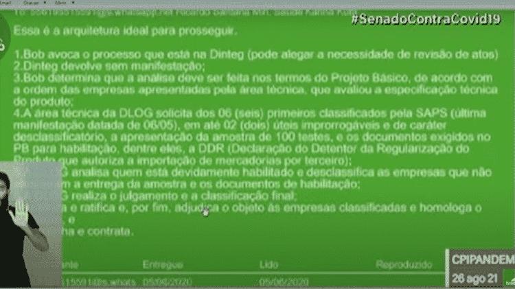 Reprodução de mensagem atribuída a Marconny Albernaz e José Ricardo Santana revelada na CPI da Covid - Reprodução - Reprodução