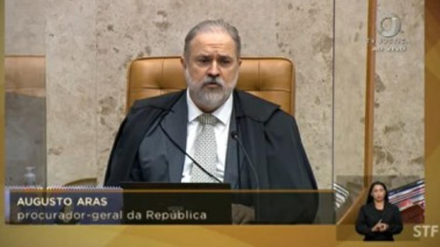 Augusto Aras durante seu pronunciamento asqueroso, feito no Supremo, sobre os atos golpistas de Sete de Setembro - Reprodução