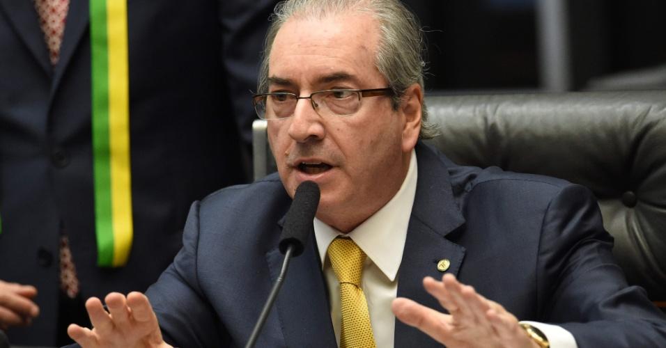15.abr.2016 - O presidente da Câmara dos Deputados, Eduardo Cunha (PMDB-RJ), fala durante o início da sessão do processo de impeachment contra a presidente Dilma Rousseff (PT)