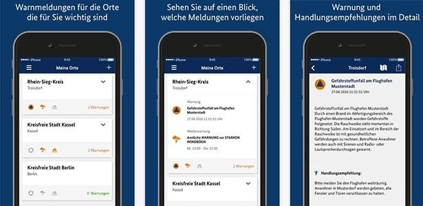 Aplicativo Nina, da Alemanha, informa seus usuários sobre o que acontece no local onde eles se encontram