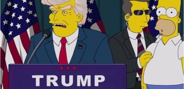"""Essa cena de """"Os Simpsons"""" mostrando Trump efetivamente como presidente é de 2015; mas um episódio de 2000 também o havia citado no comando da Casa Branca"""