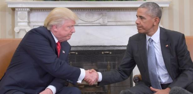 10.nov.2016 - O presidente eleito dos EUA, Donald Trump, é recebido pelo presidente Barack Obama no Salão Oval da Casa Branca, em Washington