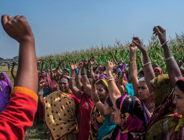"""Mulheres protestam com palavras """"anti-álcool"""" em plantação de milho onde o álcool era produzido ilegalmente, em Bihar, na Índia"""