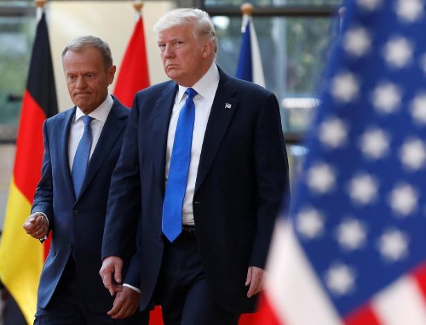 Donald Trump com o presidente do Conselho Europeu, Donald Tusk, em Bruxelas