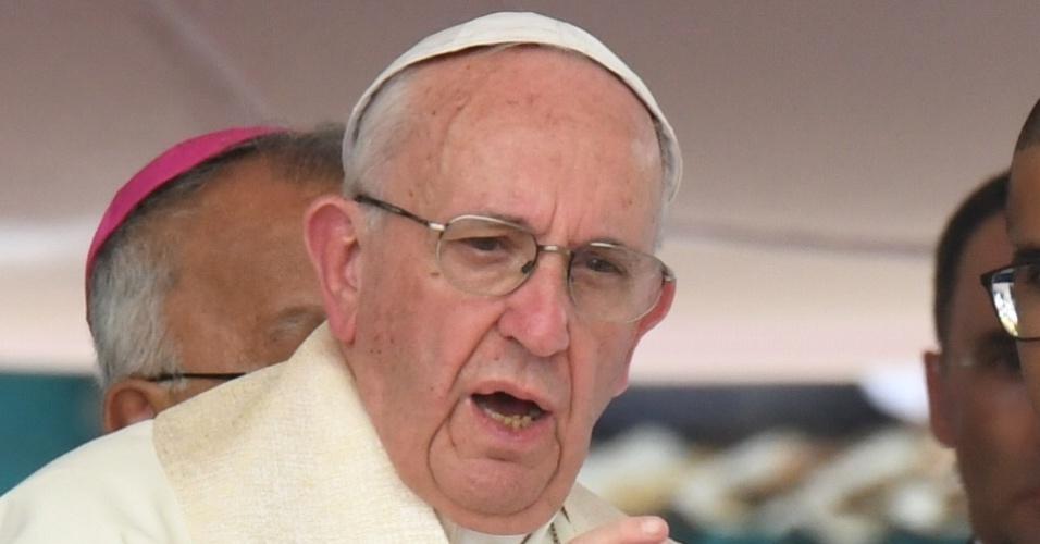 O papa Francisco em cerimônia na praça São Francisco, em Cartagena, Colômbia