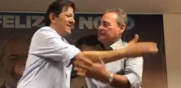 """A Haddad (esq.), Calheiros qualificou como """"inaceitável"""" decisão do TSE de barrar Lula"""