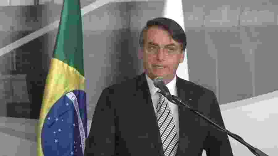 26.jan.2019 - Jair Bolsonaro discursa durante posse de novo presidente de Itaipu - Reprodução/Facebook/Marito Abdo