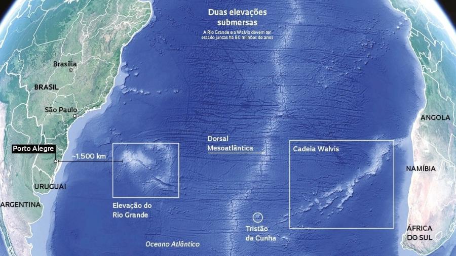 Mapa mostra localização da Elevação do Rio Grande, a cerca de 1.300 km de Porto Alegre - Fapesp