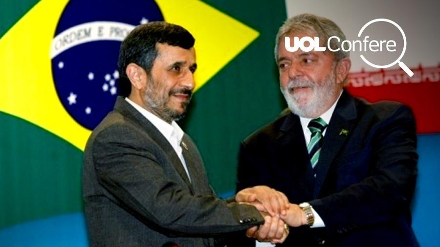 O ex-presidente Lula cumprimenta o então presidente iraniano, Mahmoud Ahmadinejad - Sergio Lima/Folha Imagem/Arte/UOL