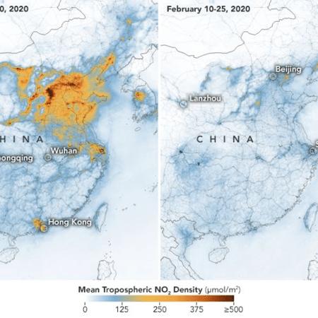 Imagens de satélite mostram poluição na China antes e depois do surto de coronavírus - NASA