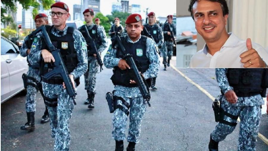 Força Nacional de Segurança atua em Fortaleza durante greve de policiais militares; no destaque, o governador Camilo Santana, que enfrentou bem a crise insuflada até pelo Planalto - Lucas Moura/Reuters - Jarbas Oliveira/Folhapress