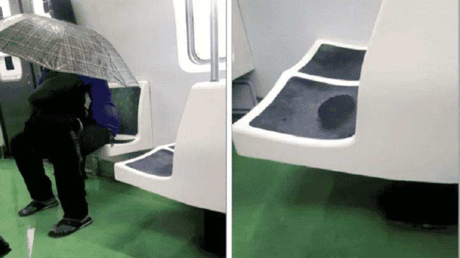 Passageiro abre guarda-chuva dentro de trem no Rio de Janeiro para se proteger de goteira - Reprodução/TV Globo