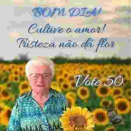 Meme típico de grupos de família usa a imagem da vice de Guilherme Boulos, Luiza Erundina, 85, com frase motivacional e bom dia, foi usado pela campanha do PSOL no whatsapp - Reprodução - Reprodução