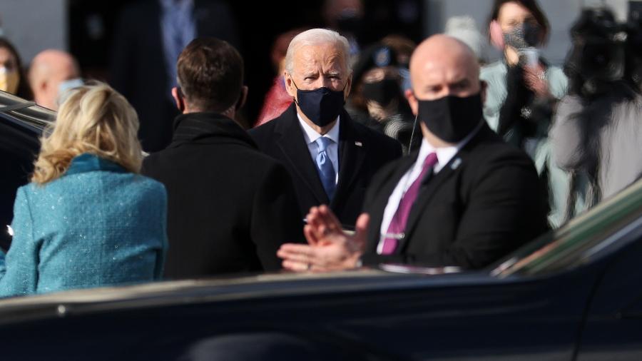 20 jan. 2021 - Joe Biden chega no Capitólio para sua posse como presidente dos Estados Unidos - Joe Raedle/Getty Images