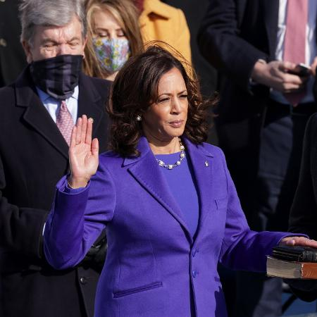 20 jan. 2021 - Kamala Harris toma posse como vice-presidente dos Estados Unidos após juramento - Alex Wong/Getty Images