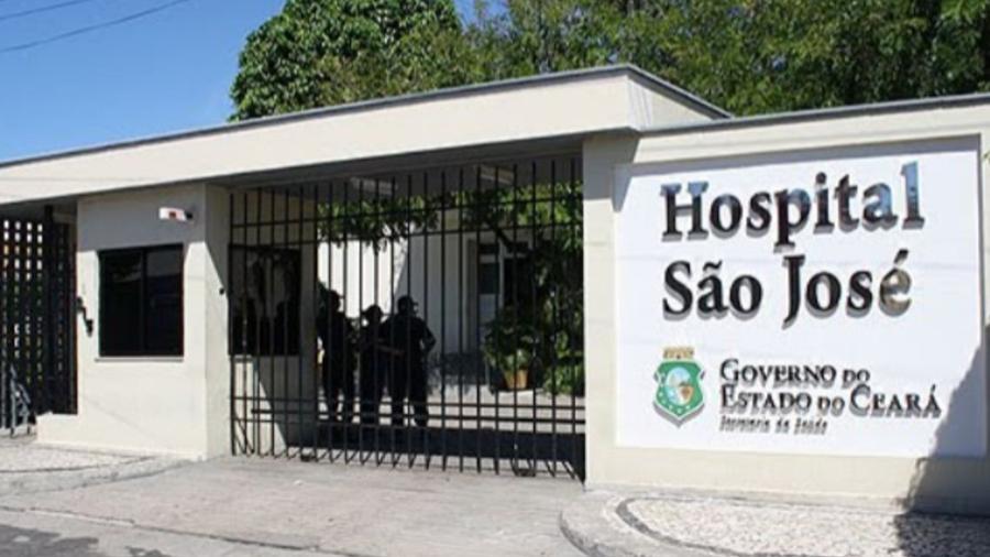 Fachada do Hospital São José, em Fortaleza; atualmente Ceará tem 933 leitos de UTI exclusivos para covid-19 - Hospital São José/Divulgação