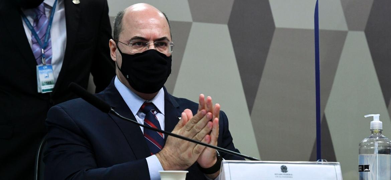O ex-governador do Rio Wilson Witzel é ouvido pela CPI da Covid - Edilson Rodrigues/Agência Senad