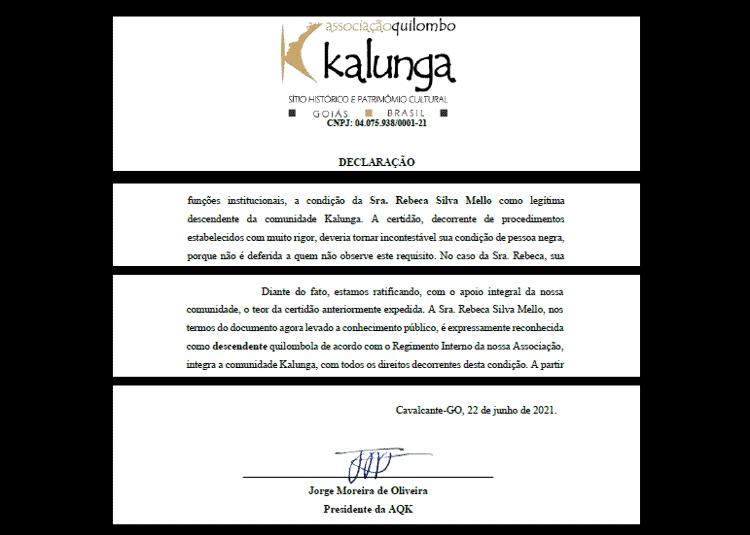 22.jun.2021 - Declaração de quilombolas diz que economista é negra - Reprodução - Reprodução