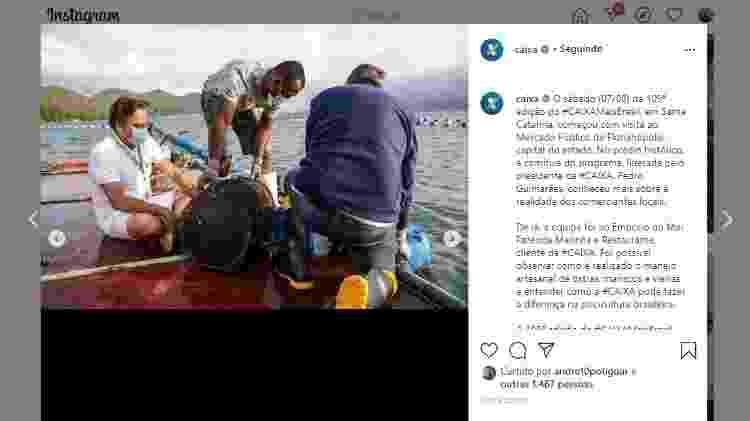 Caixa divulga em seu perfil no Instagram imagem do presidente da instituição, Pedro Guimarães, acompanhando pescaria em Santa Catarina  - Reprodução/Instagram - Reprodução/Instagram