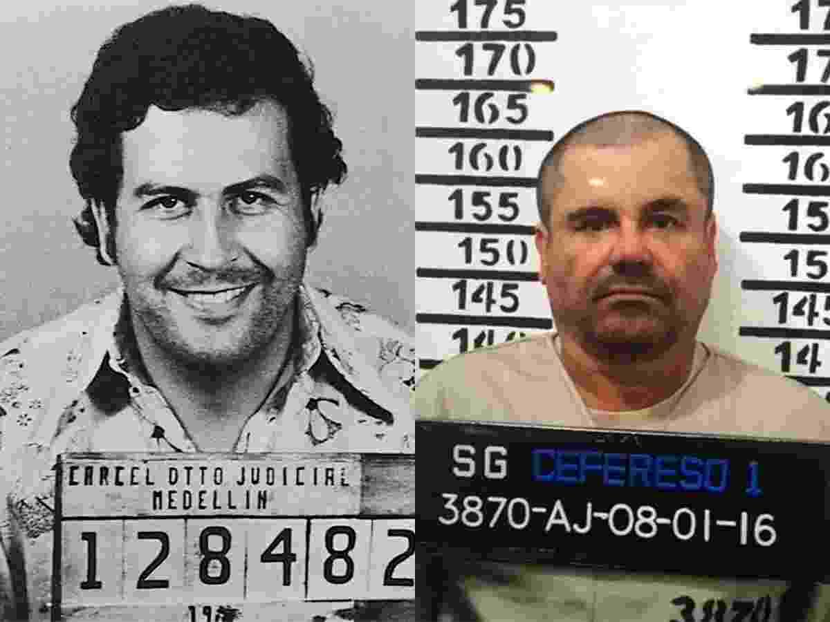 """Em diferentes épocas, o colombiano Pablo Emilio Escobar Gaviria e o mexicano Joaquín Archivaldo Guzmán Loera foram considerados os maiores narcotráficantes do mundo. Escobar, ou El Patrón, foi o rei do tráfico de cocaína entre 1976 e 1993. El Chapo é o número 1 na venda não só de cocaína, mas também maconha, heroína e metanfetamina, e está """"no negócio da droga"""" desde 1989. Em comum, além de serem os mais procurados por autoridades americanas, ambos tiveram infâncias difíceis, promoveram um verdadeiro banho de sangue em seus países e tinham ambições ousadas: Escobar quis ser presidente da Colômbia, e chegou a ser deputado; El Chapo foi preso porque planejava um filme sobre sua própria vida - Reprodução - Mexican Prison Authority"""