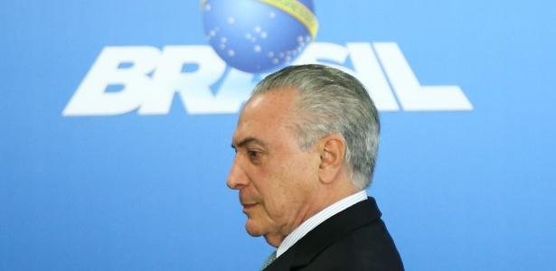 O presidente interino, Michel Temer, em cerimônia no Palácio do Planalto