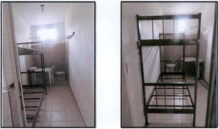 Estas são as celas de isolamento. O máximo de tempo que os policiais permanecem nelas são 30 dias