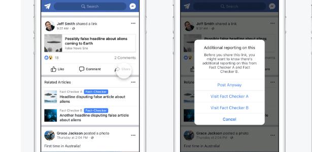 Ferramenta de verificação de notícias do Facebook no celular
