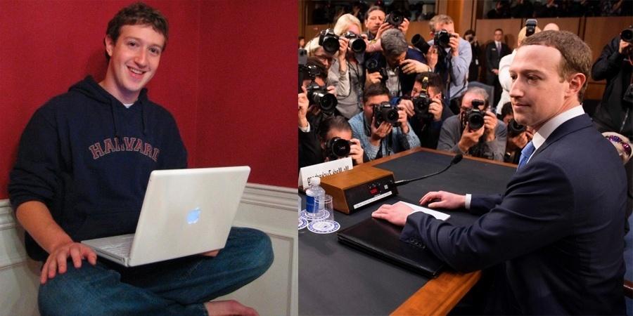 Mark Zuckerberg em 2005 e em 2018
