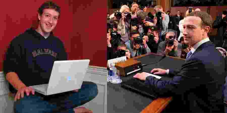 Mark Zuckerberg em 2005 e em 2018 - Facebook/Reprodução e Saul Loeb/AFP
