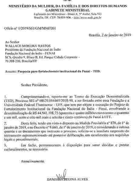 Ofício da ministra dos Direitos Humanos, Damares Alves, que pede suspensão de contrato de R$ 44,9 milhões da Funai feito sem licitação - Reprodução