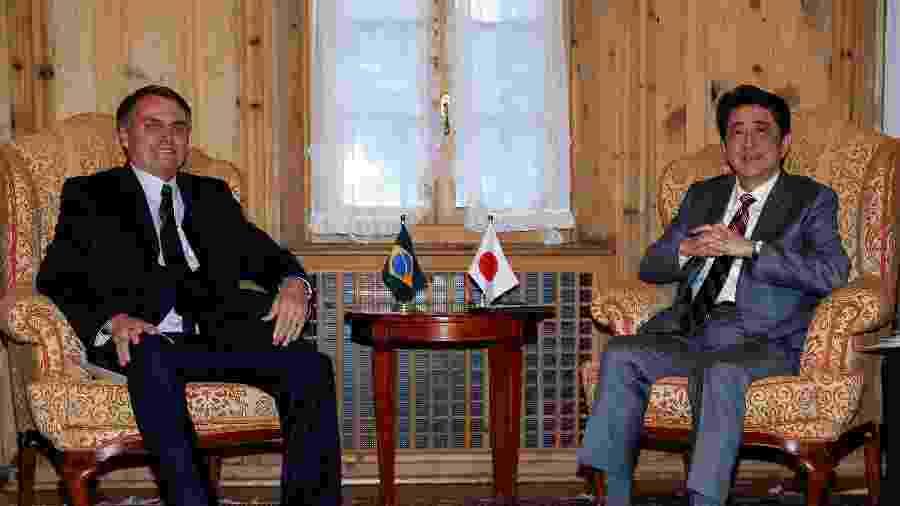 23.jan.2019 - O presidente Jair Bolsonaro teve uma reunião bilateral com o Primeiro-Ministro do Japão, Shinzo Abe - Alan Santos/PR