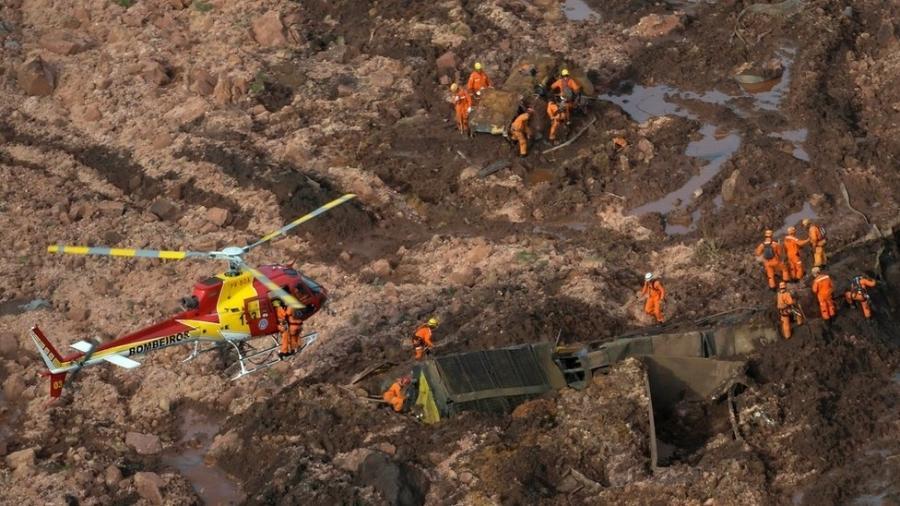 Os rejeitos liberados pelo rompimento de uma barragem no município de Brumadinho, que faz parte da região metropolitana de Belo Horizonte (MG), atingiram residências e a área administrativa da empresa no local, conhecido como Mina Córrego do Feijão - Reuters