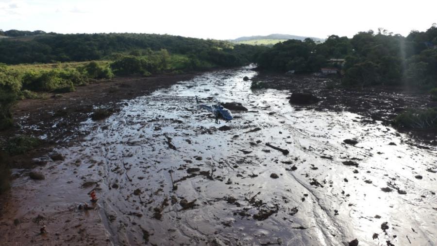 27.jan.2019 - Área atingida pelo rompimento de uma barragem da Vale em Brumadinho (MG) - Polícia Militar de Minas Gerais
