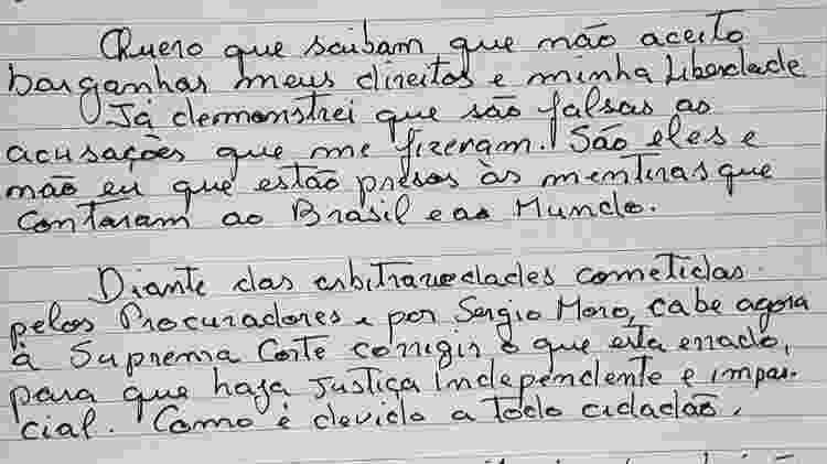 Trecho da carta do ex-presidente Lula após reunião com advogados na prisão - Divulgação/Instituto Lula