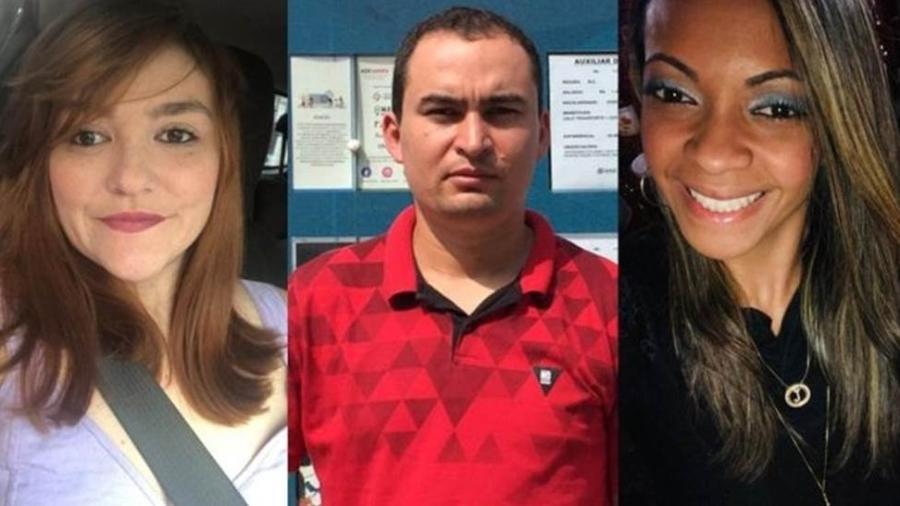 Blanca Monje Uribe, Rosivaldo da Silva e Jéssica dos Santos perderam o emprego recentemente - BBC