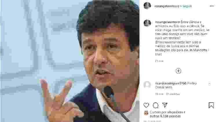 Rosangela Moro, mulher de Sergio Moro, saiu em defesa de Mandetta após ataque de Bolsonaro - Reprodução/Instagram