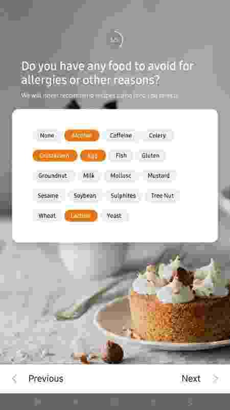 Interface do SmartThings Cooking, da Samsung, que pergunta se pessoa tem algum tipo de alergia - Divulgação - Divulgação