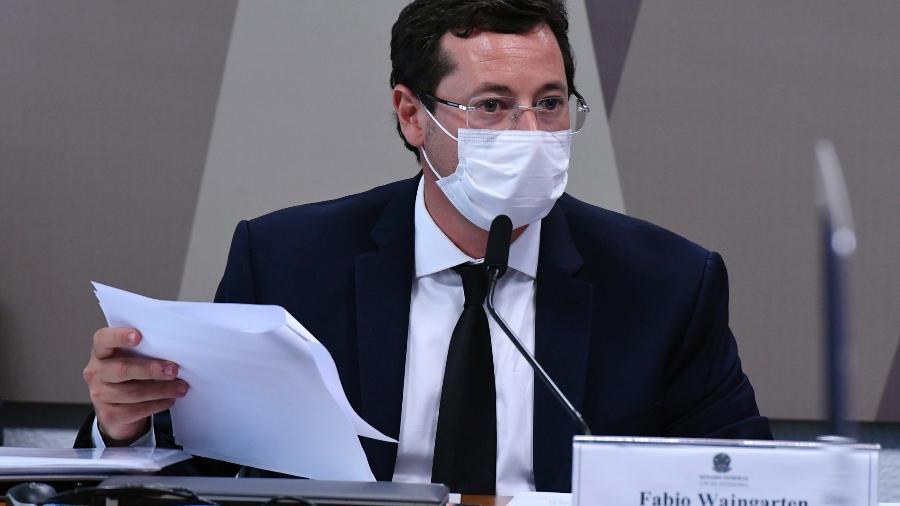 12.mai.2021 - O ex-secretário especial de Comunicação da Presidência, Fabio Wajngarten, é ouvido na CPI da Covid - Edilson Rodrigues/Agência Senado