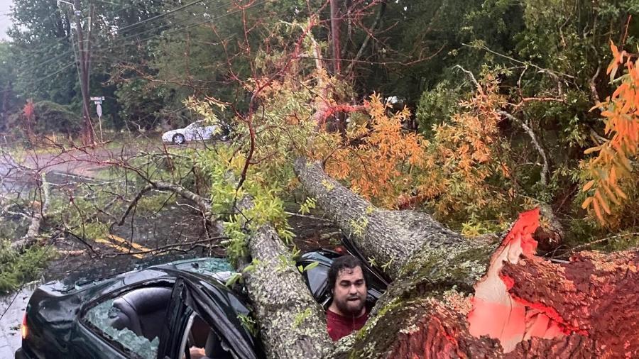 Henri Cheramie estava em seu carro quando ele foi atingido por uma árvore - Reprodução/GoFundMe