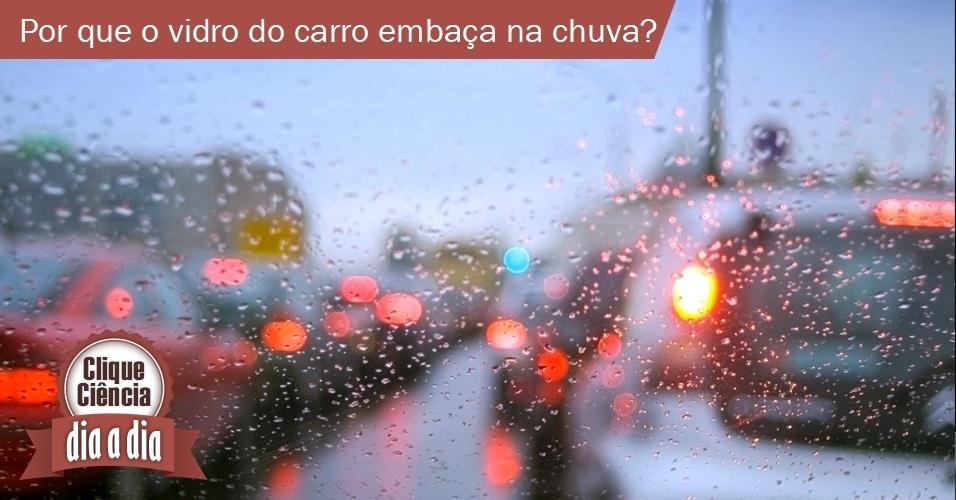 27.mai.2013 - Clique Ciência - com vidros fechados, pouca circulação de ar, e nós respirando dentro do carro, o ar fica quente; já o vidro fica gelado com a temperatura do exterior. Quando a água no formato gasoso encosta nele, volta ao estado líquido, em gotículas de água. É isso que embaça o vidro e dificulta a visibilidade