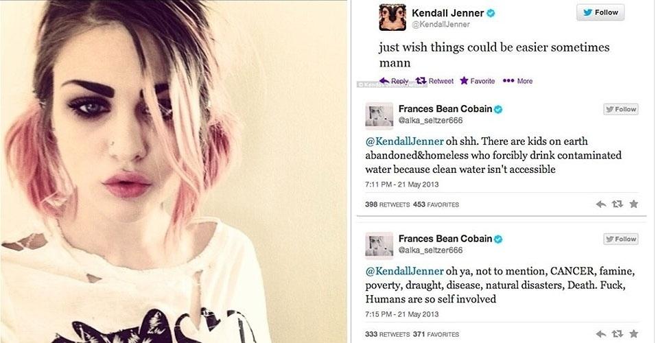 Francis Bean Cobain (esq.), 20, filha dos músicos Curt Cobain e Courtney Love, usou sua conta no Twitter para dar uma bronca em Kendal Jenner