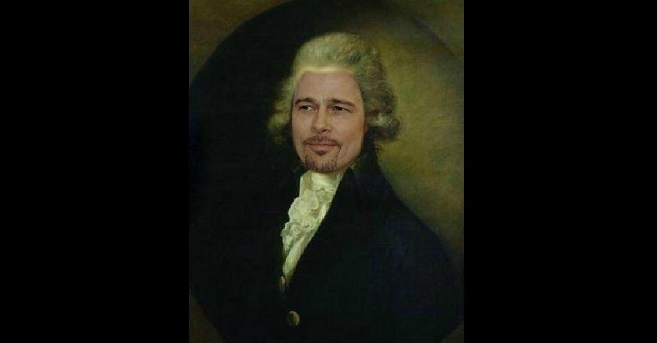 """O site """"The Poke"""" reuniu imagens da modinha na web que mistura duas celebridades em uma imagem só. Na foto, Brad Pitt e William Pitt the Younger"""