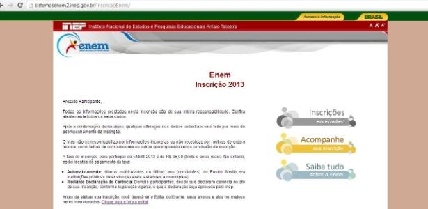 """Site do Enem 2013 mostra mensagem de """"Inscrições Encerradas"""" antes do prazo final. A imagem acima foi capturada por um estudante à 00h26 de hoje - Reprodução"""