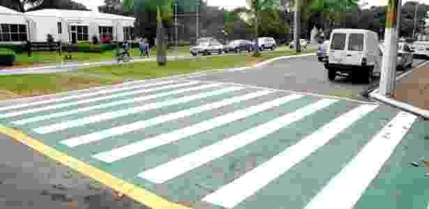 """Faixa de pedestres com contorno verde em Santa Bárbara d""""Oeste, que é governada pelo PV - Divulgação/Prefeitura de Santa Bárbara d""""Oeste"""