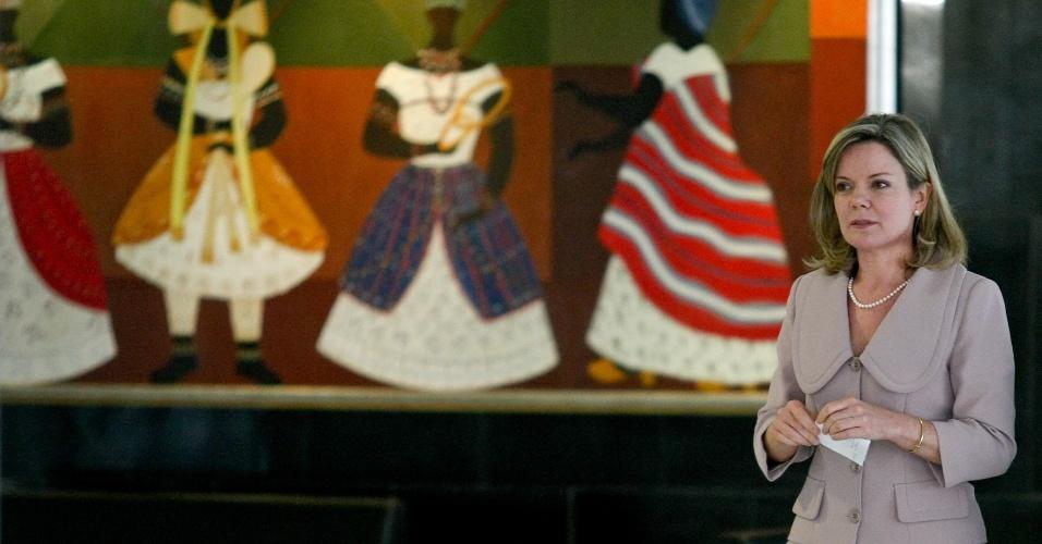29.mai.2013 - A ministra-chefe da Casa Civil, Gleisi Hoffmann, durante anúncio de que redução na tarifa de energia será mantida com a reedição de MP de desoneração da cesta básica