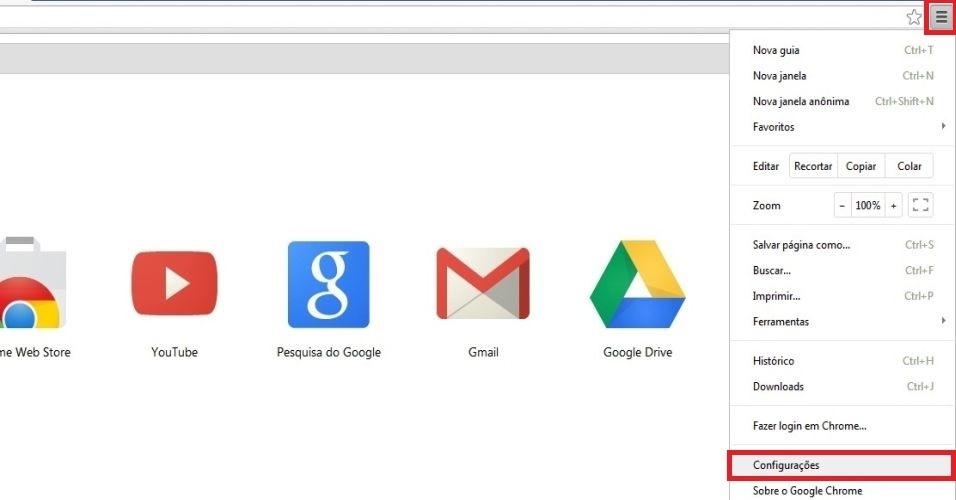 Google Chrome. Abra o navegador do Google e clique nas três listras que aparecem no canto superior direito da tela. Em seguida, escolha a opção 'Configurações'