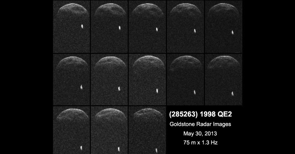 30.mai.2013 - Imagens obtidas pela Nasa (Agência Espacial Norte-Americana) mostram que o asteroide não estará sozinho durante sua passagem pela Terra na tarde desta sexta-feira (31). O 1998 QE2 trata-se, na verdade, de um asteroide binário, ou seja, ele viaja pelo espaço junto de sua própria lua, revelam as observações com o radiotelescópio de Goldstone, na Califórnia, nos Estados Unidos, feitas quando ele estava a 6 milhões de quilômetros de distância da Terra, na noite desta quarta-feira (28). O corpo principal tem um período de rotação de quatro horas, grandes cavidades e 2,7 quilômetros de diâmetro, enquanto o satélite mede cerca de 600 metros de largura, explica a Agência Espacial