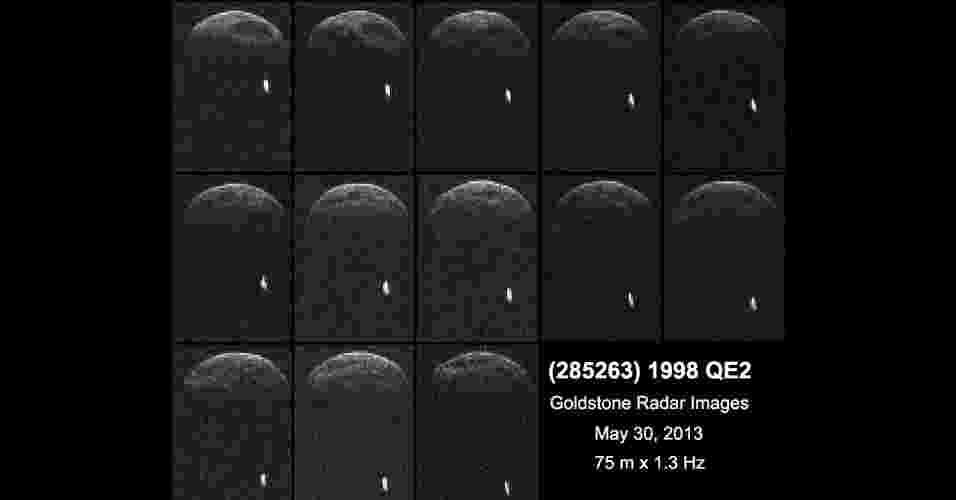 30.mai.2013 - Imagens obtidas pela Nasa (Agência Espacial Norte-Americana) mostram que o asteroide não estará sozinho durante sua passagem pela Terra na tarde desta sexta-feira (31). O 1998 QE2 trata-se, na verdade, de um asteroide binário, ou seja, ele viaja pelo espaço junto de sua própria lua, revelam as observações com o radiotelescópio de Goldstone, na Califórnia, nos Estados Unidos, feitas quando ele estava a 6 milhões de quilômetros de distância da Terra, na noite desta quarta-feira (28). O corpo principal tem um período de rotação de quatro horas, grandes cavidades e 2,7 quilômetros de diâmetro, enquanto o satélite mede cerca de 600 metros de largura, explica a Agência Espacial - Nasa/JPL-Caltech/GSSR